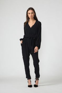fleet wrap jumpsuit / black by Moochi. Everyday luxury, from off-duty essentials to coveted designer pieces. Buy Now! Wrap Jumpsuit, Black Jumpsuit, Off Duty, Buy Now, Aw 2017, Vietnam, Essentials, Stuff To Buy, Luxury