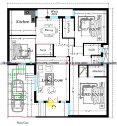 3d Home Design, Small House Design, Home Design Plans, Modern House Design, 2bhk House Plan, Duplex House Plans, New House Plans, Floor Planner, 2 Bedroom House Plans