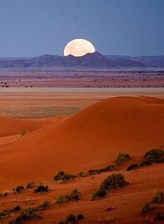 Moonrize over Dina, pro-Namib plains, Africa