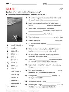 Beach, English, Learning English, Vocabulary, ESL, English Phrases, http://www.allthingstopics.com/beach.html