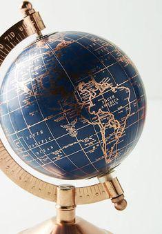 Decorative Globe by Anthropologie in Navy, Decor