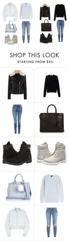 """""""Code blue vs Code black"""" by dominiqueduckett on Polyvore featuring Warehouse, Topshop, Yves Saint Laurent, Timberland, River Island, DKNY, Won Hundred, Frame Denim, women's clothing and women"""