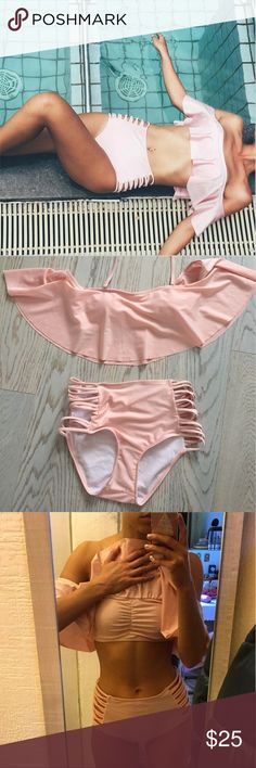 falbala sexy bikini! Only $25! It is a two piece swim suit. It is a light/pale pink color. Top fits great and bottom is a little lose so you must be a large to fit best. On the shoulders, swim suit is also lose so it doesn't leave lines. Great for summer. Swim Bikinis