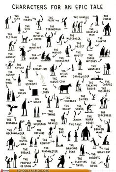 This makes me wish I taught creative writing.Fun creative writing- characters you need for an epic tale by tom gauld. students choose one, three, ten -- then write! Book Writing Tips, Writing Resources, Writing Help, Writing Skills, Short Story Writing, Writing Prompts For Writers, Essay Prompts, Creative Writing Prompts, Story Prompts