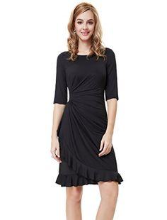 9b8f3f8686 Ever Pretty Half Sleeve Ruched Waist Ruffles Stretchy Wear to Work Dress  03900 at Amazon Women's Clothing store: