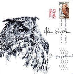 Mail Art by Yann Lesacher, Bretagne See And Say, Envelope Art, Postcard Art, Art For Art Sake, Watercolor Techniques, Letter Art, Mail Art, Summer Art, Bird Art