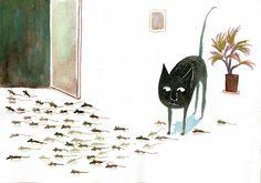Black Cat Art, Black Cats, Black Kitty, Children's Book Illustration, Book Illustrations, Cat Drawing, Sketches, Drawings, Prints