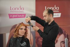 Training for hairstylists by Londa Professional Romania: Creating HOT NEW hairstyles & looks! #londahappymoments #hair #hairstylist #event #red #curly