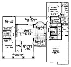 Ranch House Plan First Floor - 077D-0107 | House Plans and More