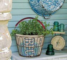 When choosing containers for my flowers I like to include a few repurposed vintage pieces along with my terra cotta pots & urns. Wire Basket Decor, Wire Egg Basket, Vintage Wire Baskets, Vintage Jars, Basket Planters, Vintage Planters, Basket Decoration, Flower Planters, Hanging Baskets
