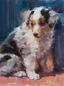Aussie Pup by Lindsey Bittner Graham Oil ~ 8 x 6