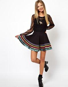 ASOS Skater Skirt with Appliqué Ribbon Hem