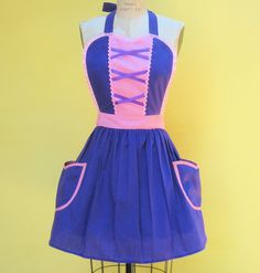 Retro apron RAPUNZEL apron great party hostess gift womens full apron that is vintage inspired
