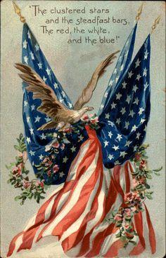 Independence Day (July or Memorial Day (last Monday of May, Civil War) or Veteran's Day (November I Love America, God Bless America, America America, Vintage Cards, Vintage Postcards, Vintage Ephemera, Vintage Menu, Holiday Postcards, Vintage Market