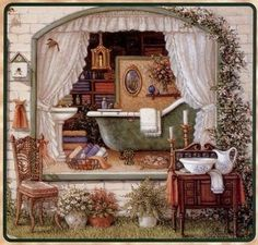 Romantic Bath by Janet Kruskramp flowers art window house painting prim illustration bathtub janet kruskramp Bath Art, Bathroom Art, Bathrooms, Bathroom Shop, Decoupage Vintage, Vintage Art, Vintage Images, Country Art, Country Style