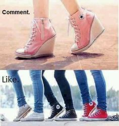 I like the heels idea! Heels and converse what more do you need in a shoe? Converse High Heels, Converse Wedges, Cute Converse, High Heel Sneakers, Pink Converse, Kobe, Buy Shoes, Me Too Shoes, Women's Shoes