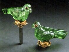 Elements from a turban ornament, emerald and rubies, probably 17th Century A.D., 35 millimeters high