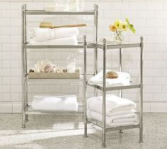 "Metal Etagere #potterybarnThree-tier: 13.5"" wide x 13.5"" deep x 31"" high  Four-tier: 24.5"" wide x 10"" deep x 39"" high"