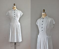 1940s dress / 40s day dress / Connected Medallion by DearGolden, $34.00