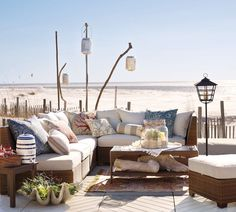 Back Yard Sitting Area Ideas with nautical theme | Designing Outdoor Living Room w/ Palmetto Sectional by Pottery Barn