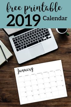 2019 monthly free printable wall or desk calendar. Hand lettered from January through December help you get organized -- Print on Colored Paper for variety Monthly Planner Printable, Calendar 2019 Monthly, Free Printable Calender, Free Printables, Calendar 2019 Design, December Calendar, Printable Calendar Template, Bullet Journal Calendrier, Planners