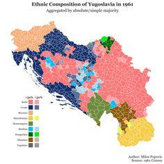 Sal:1991. Komên nîjadî li Yugoslavistanê (şîn:xirwat, sor:sirb,zer:makedon, kesk:montenegroyî, keskê tarî: mecar/hûn, şînê ronî: boşnaq, qehweyî; arnawûd/alban, zerê tarî; sloven)