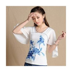 White shirt women spring summer ethnic design short sleeve square... ❤ liked on Polyvore featuring tops