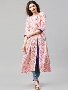 Libas Cream-Coloured & Pink Floral Print A-Line Kurta