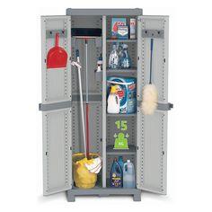 Plastová skříň s vnitřní dělící stěnou. Skříň se 4 výškově nastavitelnými poličkami, každá o nosnosti 15 kg, svým vnitřním uspořádáním může sloužit jako úklidová skříň, do dílny, na nářadí, do garáží, vhodná je do vlhkých sklepů, na chodby a také na kryté terasy. Lock System, Lockers, Locker Storage, Cabinet, Furniture, Home Decor, 3, Products, Clothes Stand