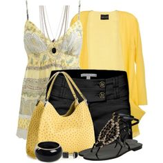 A fashion look from June 2014 featuring Mauro Gasperi cardigans, Wet Seal and Emanuela Caruso sandals. Browse and shop related looks. Short Outfits, Cool Outfits, Casual Outfits, Fashion Outfits, Womens Fashion, Fashion 2018, Spring Summer Fashion, Spring Outfits, Mellow Yellow