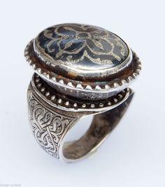 ring Size 69 RARE TURKMEN SILVER RING  AFGHANISTAN - TURKMENISCHE SILBER RING 15