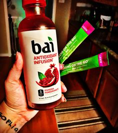 It's ON this morning! I'm loving ❤️these BAI drinks with my Greens!They're adding ➕extra ➕antioxidants to my: ✔️8+ servings of organic fruits & veggies ✔️Boosted immunity from proper nutrition (we haven't been sick or had a flu shot in 3.5 years) ✔️Balanced pH in my body to help fight disease ✔️Natural energy from Matcha green tea (which also has its own health benefits) Can you believe ALL of that is in one little packet?? It's Monday so I'll take 2 lol.