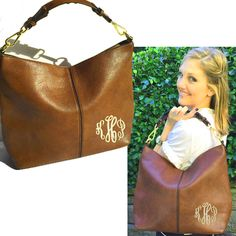 Monogrammed PARKER Handbag - Brown - FREE SHIP - Miss Lucy's Monograms