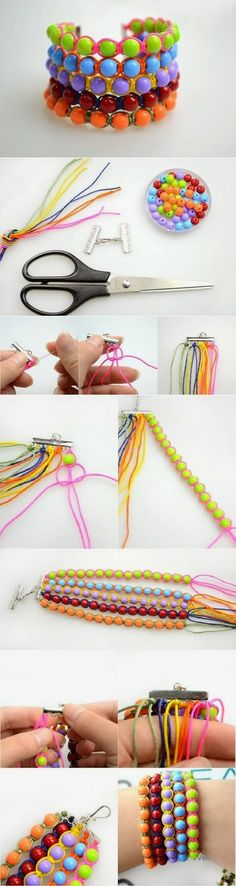 DIY Make a Wide Beaded Wristband - That variegated wristband is easy to make and looks really stylish. You need beads, a cord and a pair of scissors. Then string the beads up and tie everything as shown. The result would be a wristband like that which would make you unique and more attractive.