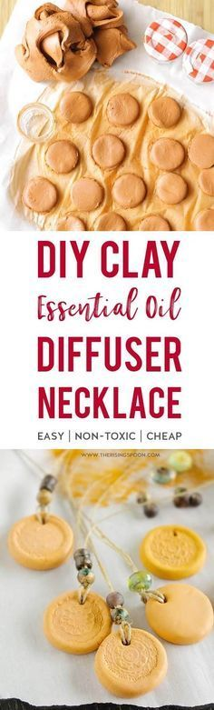 Learn how to make a simple & inexpensive essential oil diffuser necklace using air dry clay & your favorite cord material. Decorate it with a rubber stamp & beads to make it look extra special while you enjoy wonderful aromatherapy benefits. This craft project is easy enough for kids to help out & makes a wonderful homemade gift all year long. | diy christmas gifts |  #diycrafts #EssentialOils #diychristmas #christmasgifts #KidsCrafts #healthyliving