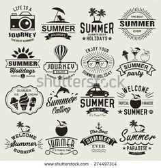 Vintage design elements logos labels icons objects and calligraphic designs. Summer Typography, Typography Logo, Typography Design, Logo Design, Dessin Old School, Summer Logo, Summer Sky, Tattoo Brazo, Holiday Logo