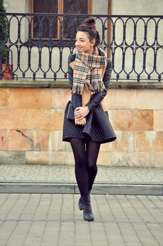 Another quilted leather skirt look - with Burberry scarf and more opaque tights. Works well with the camel color up top.