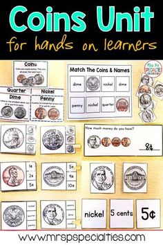 This coins unit is full of hands on tasks for students to learn about and practice coins. There are materials for direct instruction, math centers, work task boxes and generalized practice settings. These resources are perfect for students in special educ Life Skills Activities, Money Activities, Life Skills Classroom, Teaching Life Skills, Autism Activities, Autism Classroom, Life Skills Lessons, Classroom Resources, Classroom Ideas