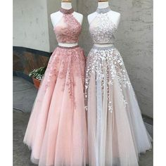 LP0236 Two Pieces Prom Dresses Halter Formal Wear, 2018 Long Party Gown Crop Top Vestido De Festa