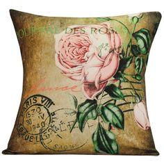 French Paris Pink Rose Postcard Document Burlap Cotton Linen Throw Pillow Cover on Etsy, $39.00