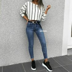 Blue Jeans und Sneakers Ideen für den Herbst Hier sind einige der besten Herbst… Blue Jeans and Sneakers Ideas for Autumn Here are some of the best fall outfit ideas … – Simple Fall Outfits, Cute Summer Outfits, Spring Outfits, Casual Fall, Casual Summer, Easy School Outfits, Summer Shorts, Autumn Outfits For Teen Girls, Trendy Outfits For Teens