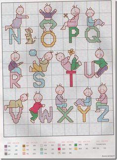 graphs, cross-stitch alphabet Abecedario child-monogram-child