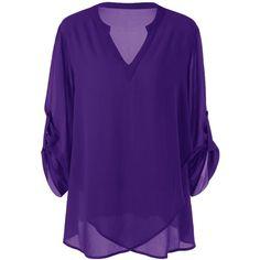 Plus Size Split Neck Adjustable Sleeve Blouse ($12) ❤ liked on Polyvore featuring tops, blouses, purple blouse, womens plus tops, purple top, purple plus size tops and women's plus size blouses