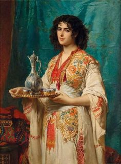 Edouard Louis Dubufe (1820-1883) - The Turkish Coffee. Oil on Canvas. Circa 1872.