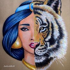 And this Jasmine and Rajah mash-up is a literal masterpiece: | Community Post: You Have To See These Gorgeous Disney Mash-Up Drawings