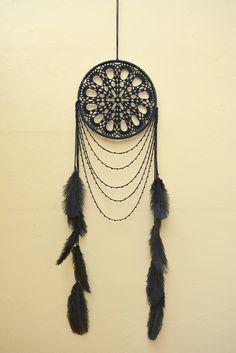 Large black dream catcher, Free spirit, Black Crochet Boho Dreamcatcher, Black…
