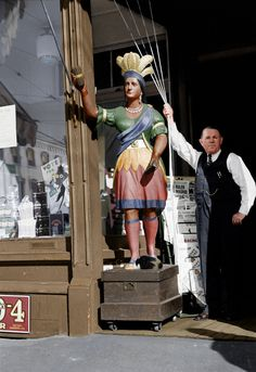 October, Cigar Store Owner and His Indian, Manchester, N. Cigar Store Indian, Manchester Nh, Colorized Photos, Photo Journal, Biker Girl, What Is Life About, Cigars, American History, Vintage Photos