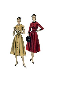 Vogue 1950s Sewing Pattern Dress Flared by AdeleBeeAnnPatterns, $18.50