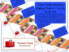 Times Table Bunting Display - KS1, KS2, KS3 Maths Multiplication Teaching Resources and Displays
