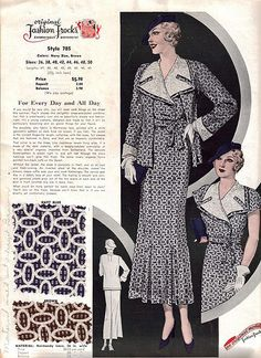 "Fashion Frocks ""For Every Day and All Day"" 1930's"